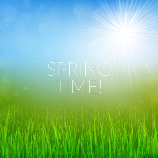Bokeh sfondo di primavera Vettore Premium