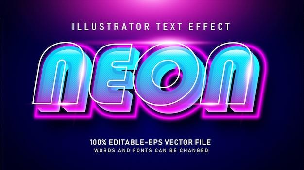 Bold neon effetto stile testo Vettore Premium
