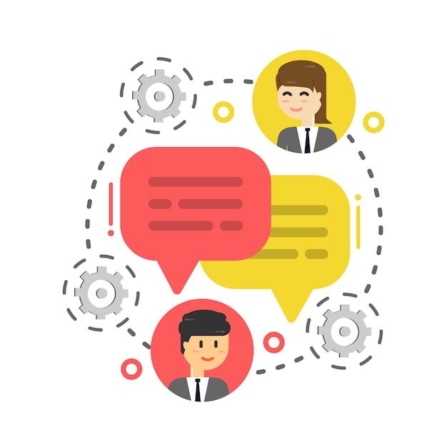 Bolla di chat uomo d'affari, discutere social network, notizie Vettore Premium