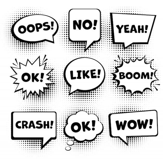 Bolle di discorso comico retrò impostato. i fumetti comici vuoti hanno messo 9 in 1. vettore Vettore Premium