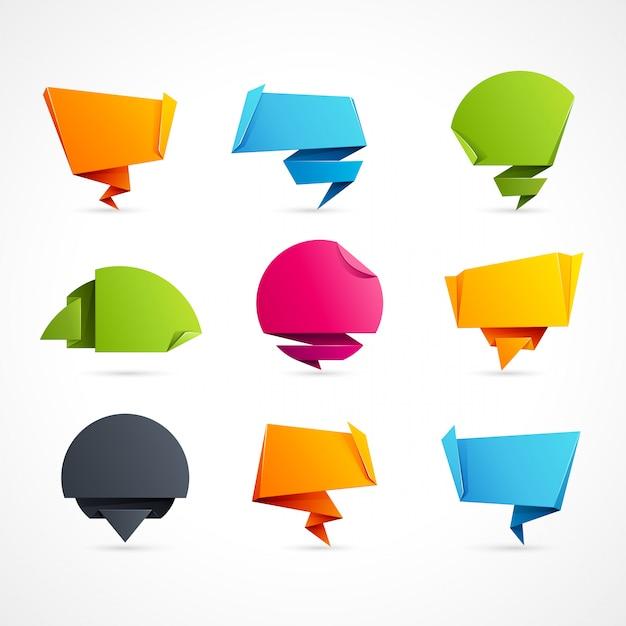 Bolle di discorso di origami Vettore Premium