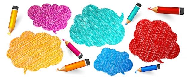 Bolle di discorso e pensiero disegnate su matite colorate Vettore Premium