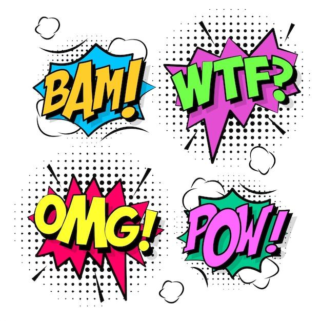 Bolle di fumetto comiche colorate Vettore gratuito