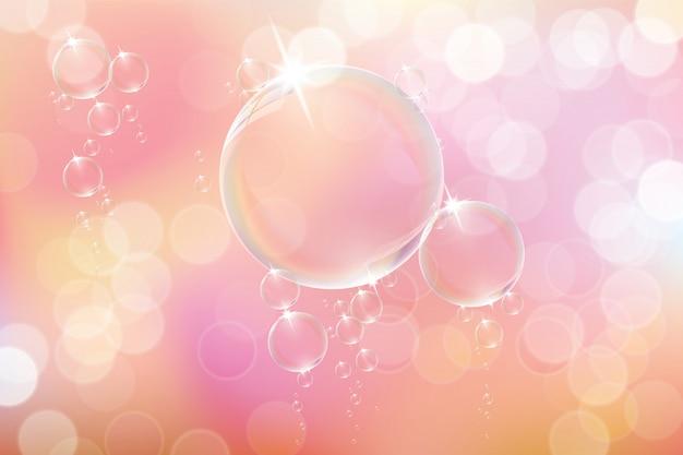 Bolle di sapone su sfondo rosa. Vettore Premium