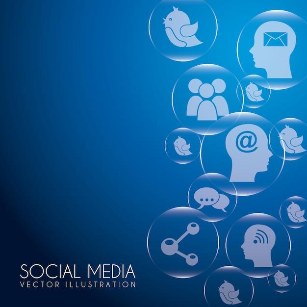 Bolle di social media Vettore Premium