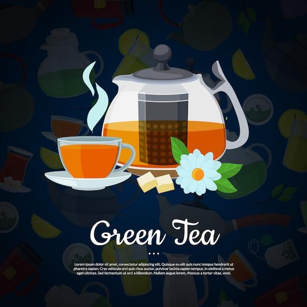 Bollitori e tazze del tè del fumetto di vettore con il modello del testo Vettore Premium