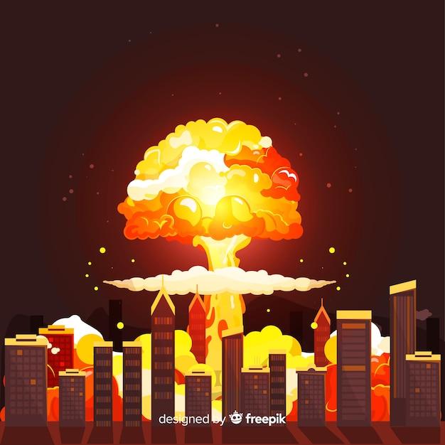 Bomba nucleare in stile cartone animato città Vettore gratuito