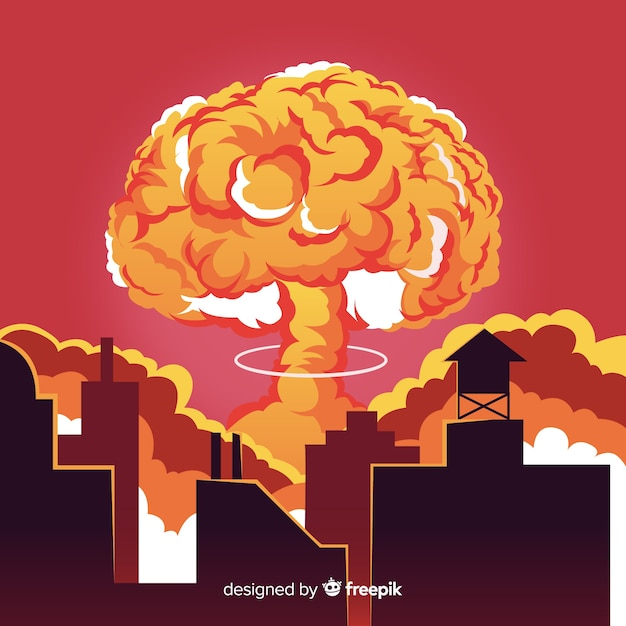 Bomba nucleare piatta in una città Vettore gratuito