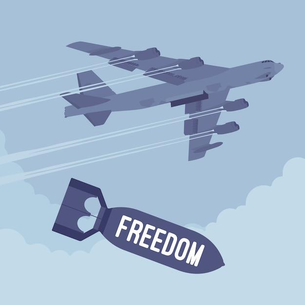 Bombardiere e bombardamenti sulla libertà Vettore Premium