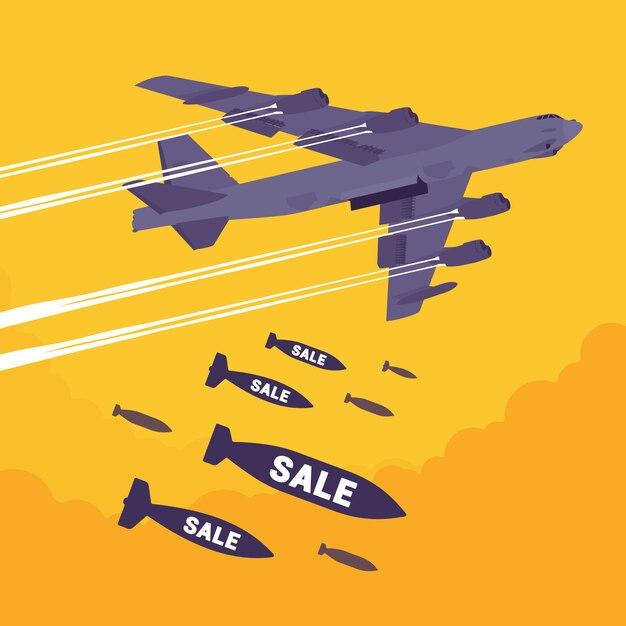 Bombardieri e bombardamenti di vendita Vettore Premium