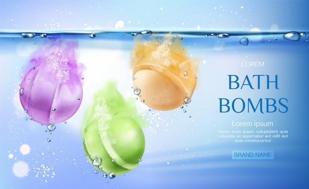 Bombe da bagno in acqua, prodotti cosmetici di bellezza spa per la cura del corpo Vettore gratuito