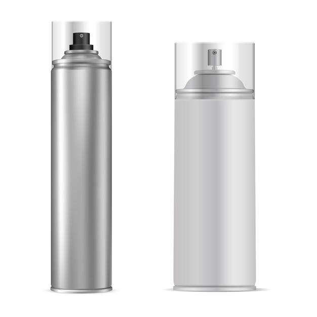 Bombola spray. tubo per aerosol in alluminio. bottiglia vettoriale Vettore Premium
