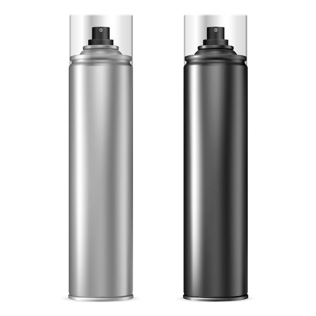Bomboletta spray in alluminio. bottiglia di aerosol impostata in nero. Vettore Premium