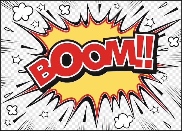 Boom di parola del fumetto del fumetto del libro di fumetti disegnato a mano libera Vettore Premium