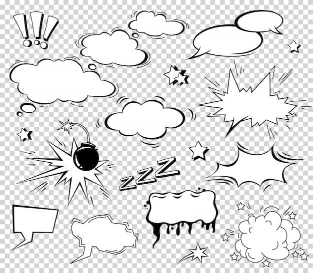 Boom effect set design per fumetti. Vettore Premium