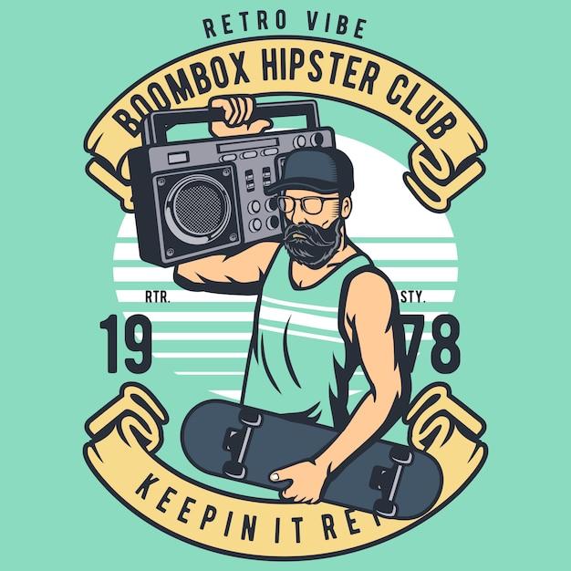 Boombox hipster Vettore Premium