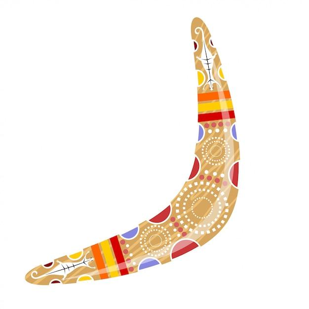 Boomerang di legno australiano. boomerang dei cartoni animati. illustrazione del boomerang colorato lucertola tribale. stock vettoriale Vettore Premium