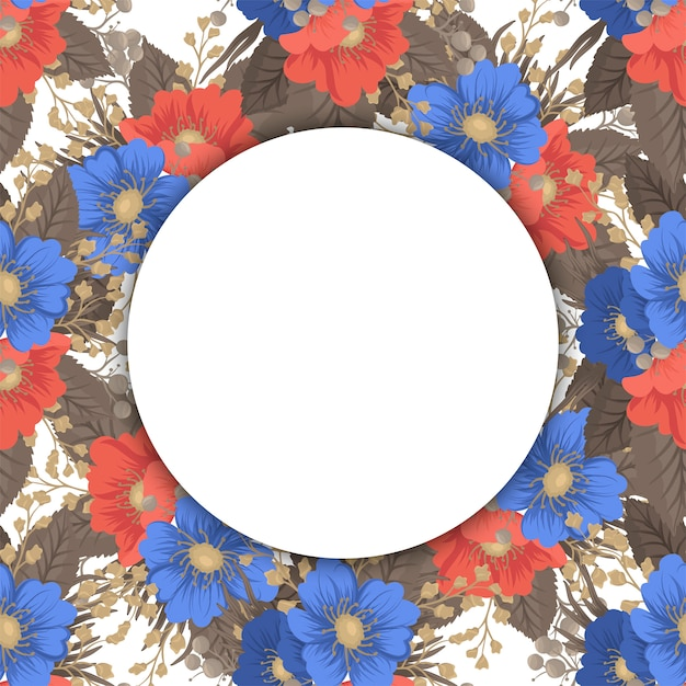 Bordi circolari di fiori - cornice rotonda Vettore gratuito
