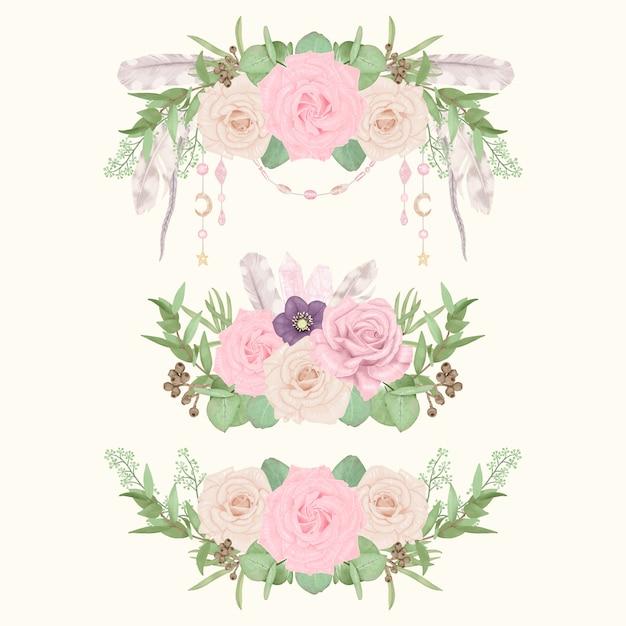 Bordi floreali boho con piume Vettore Premium