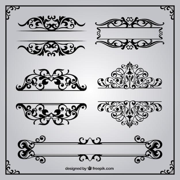 Bordi ornamentali in stile retrò Vettore gratuito