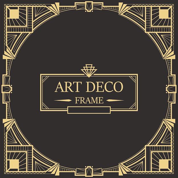 Bordo art deco e modello di telaio. Vettore Premium