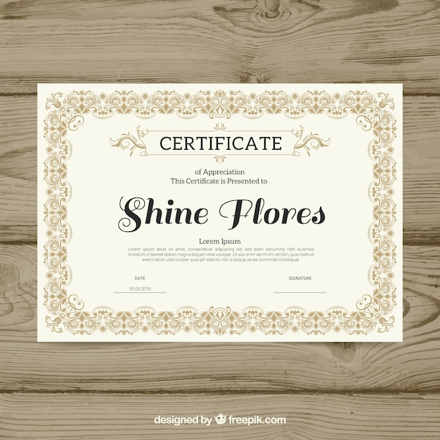 Bordo certificato ornamentale Vettore gratuito