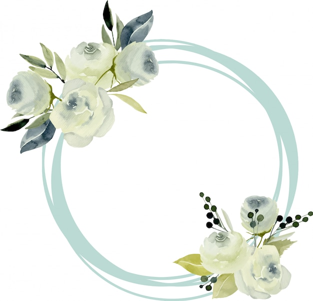 Bordo cornice rotonda con rose bianche acquerellate Vettore Premium