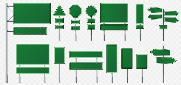 Bordo del segnale di direzione, segni della destinazione della strada, bordi del segnale stradale e puntatore verde dell'insegna di direzione isolato Vettore Premium