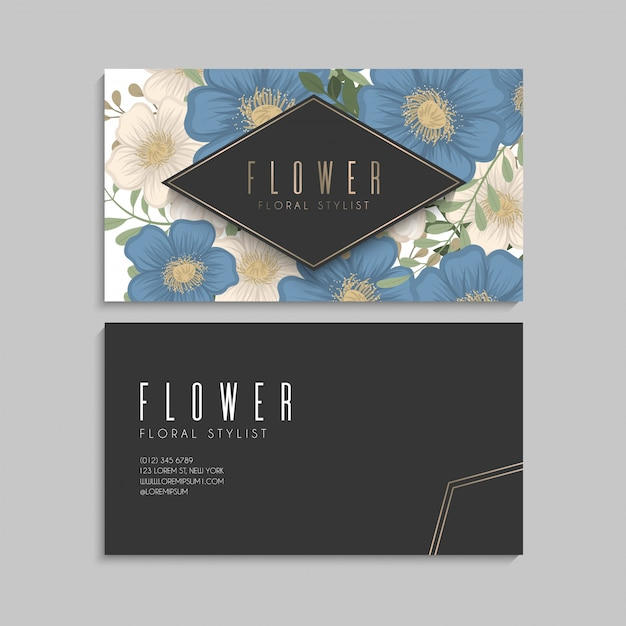 Bordo di disegni di fiori - fiori blu Vettore gratuito