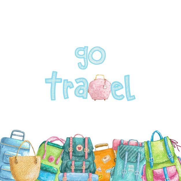 Bordo di matita disegnata a mano con raccolta di borse da viaggio Vettore Premium