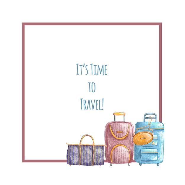Bordo di viaggio carino disegnato a mano con le borse Vettore Premium