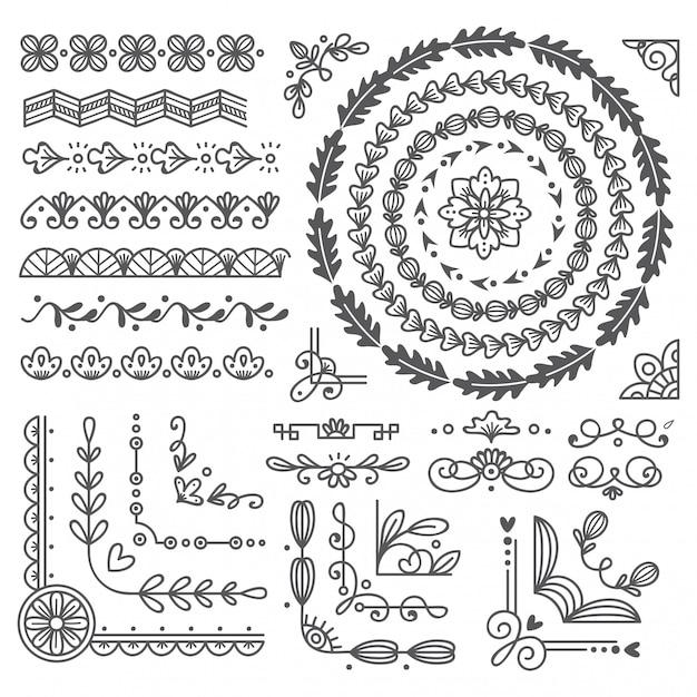 Bordo e cornice disegnati a mano, elemento di design di carta di nozze Vettore Premium