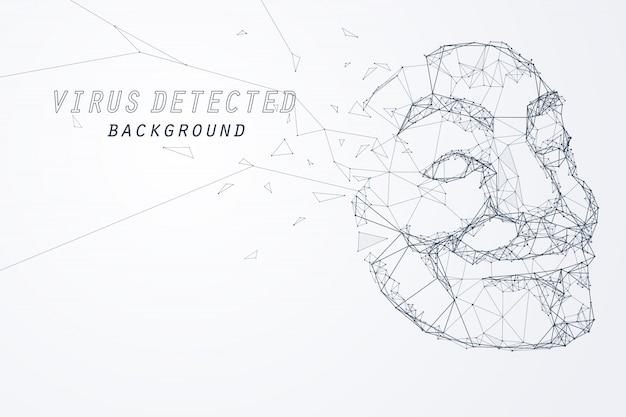 Bordo e vertice di anonymous hacker mask Vettore Premium