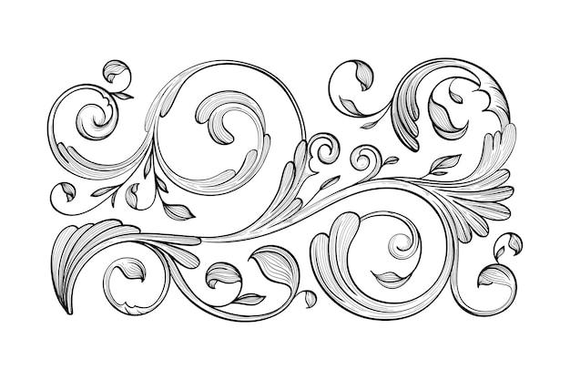 Bordo ornamentale disegnato a mano realistico Vettore gratuito