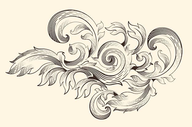 Bordo ornamentale in stile barocco Vettore gratuito