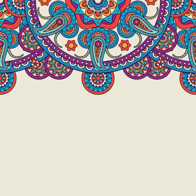 Bordo superiore di doodle paisley indiano Vettore Premium
