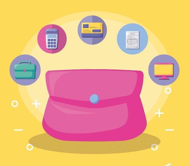Borsa con economia e finanziaria con set di icone Vettore Premium