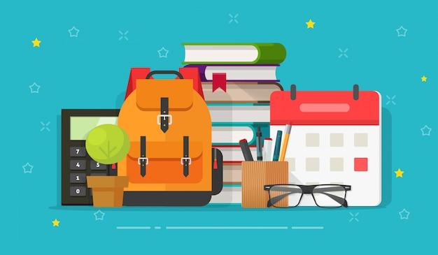 Borsa da scuola e oggetti educativi sulla scrivania o idea o tempo di studio o apprendimento Vettore Premium