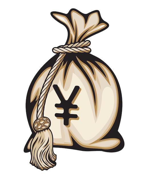 Borsa dei soldi con l'illustrazione di vettore del segno di yen Vettore Premium