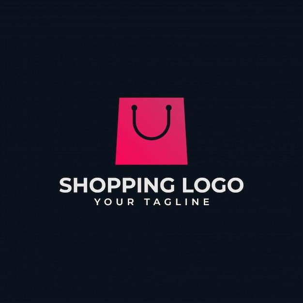 Borsa della spesa semplice, negozio online, modello di progettazione di logo di vendita Vettore Premium