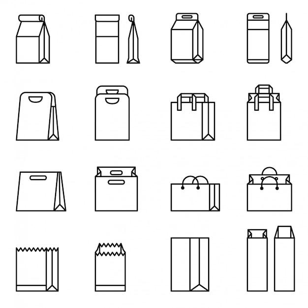 Borsa della spesa, set di icone vettoriali sacchetto di carta. stock vettoriale sottile linea stile. Vettore Premium