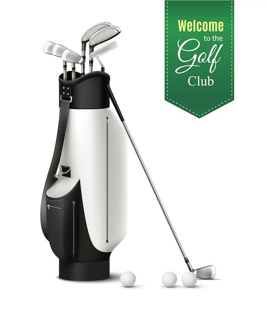Borsa di vari club di golf e palle illustrazione realistica set vettoriale Vettore gratuito