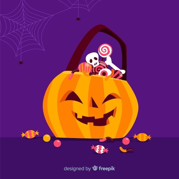 Borsa di zucca di halloween design piatto Vettore gratuito