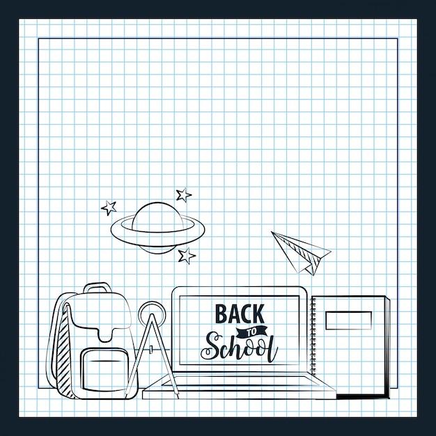 Borsa, laptop, libri ed elementi scolastici disegnati su carta Vettore gratuito