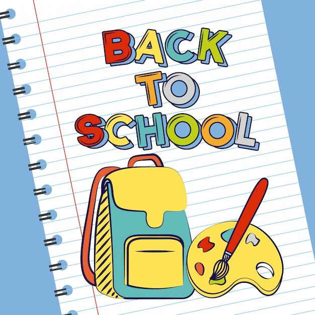 Borsa, pennello e tavolozza, ritorno a materiale scolastico Vettore gratuito