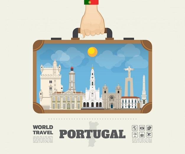 Borsa portante globale infographic di viaggio e di viaggio del punto di riferimento del portogallo della mano. Vettore Premium