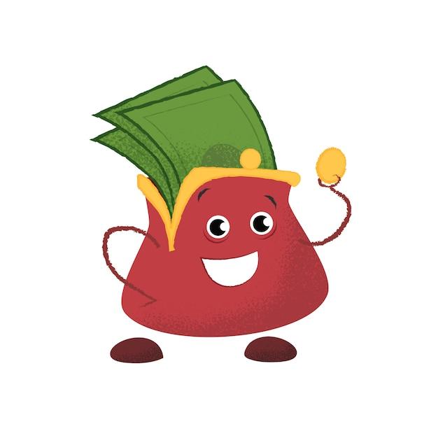 Borsa sorridente felice. soldi, risparmi, finanze. Vettore gratuito