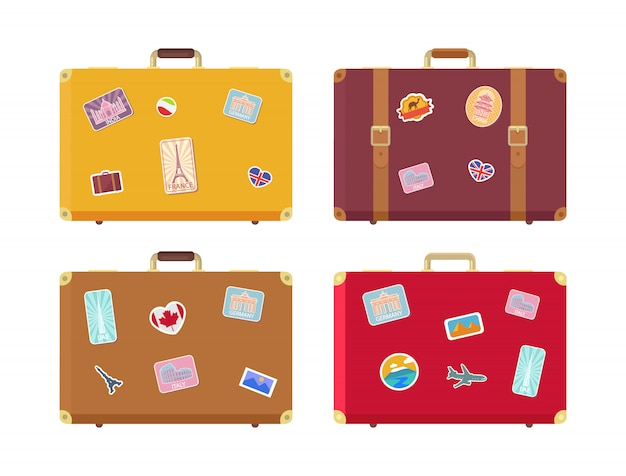 Borse da viaggio per bagagli con set di adesivi Vettore Premium