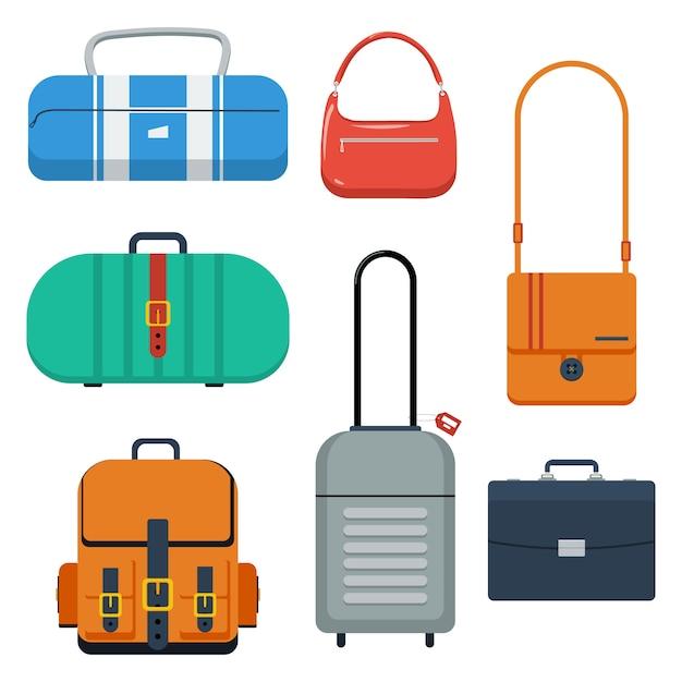 Borse, valigia e zaino di colore piatto. Vettore Premium