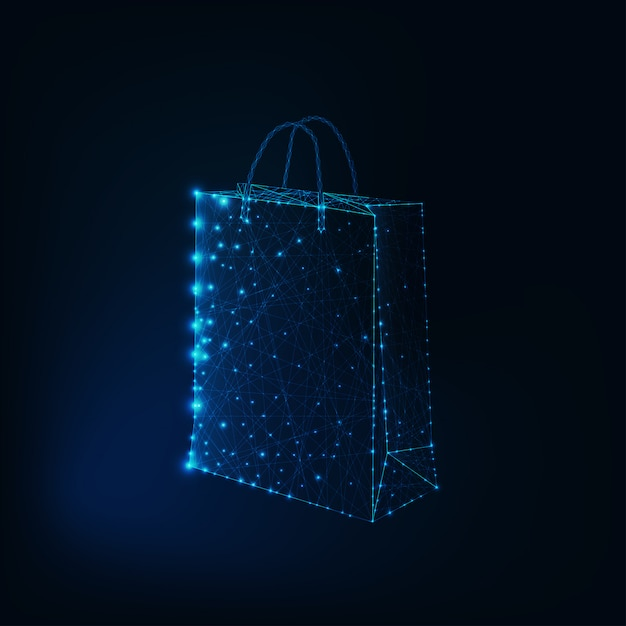 Borsetta da shopping in poli basso incandescente fatta di stelle e linee Vettore Premium